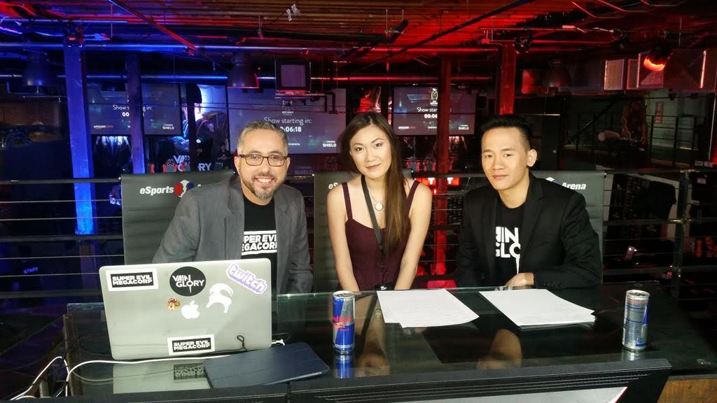 PlayoffBeard, Hafu & ROAM (from right) hosting the Autumn Live Championships